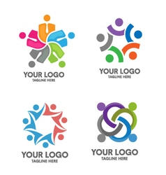 People social community logo set vector