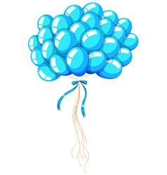 Bunch of blue balloons with ribbon vector