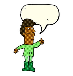 Cartoon nervous man with speech bubble vector