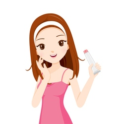Girl holding beauty packaging vector