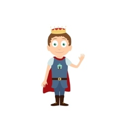 Young prince standing and waving cartoon vector