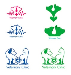 Veterinary clinic labels templates vector