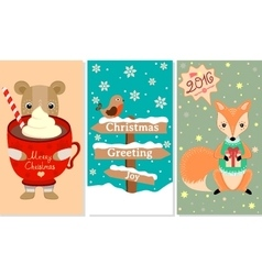 3 New Year Christmas banner with lovely animals vector image