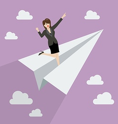Business woman on paper rocket vector image