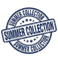 Summer collection blue grunge round vintage rubber vector