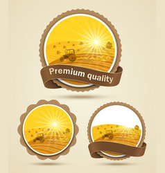 Cereal harvest label vector image