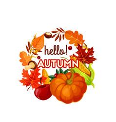 Autumn harvest vegetable fruit and leaf poster vector