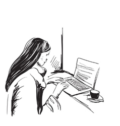 Business woman with laptop computer and sitting by vector