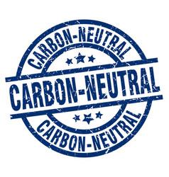 Carbon-neutral blue round grunge stamp vector