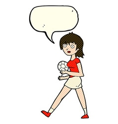 Cartoon soccer girl with speech bubble vector