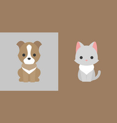 Cat and dog icon flat design pet shop concept vector