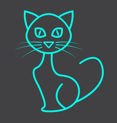 Cat line icon halloween and scary animal sign vector