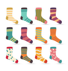 Child socks icons colorful cartoon cute vector