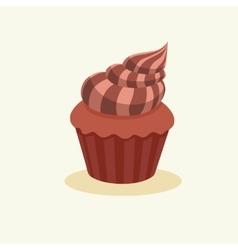 Chocolate muffin with cream vector image