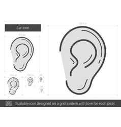 Ear line icon vector
