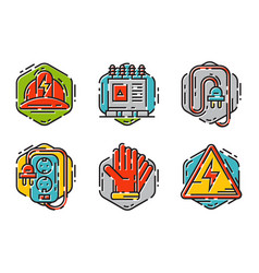 Energy outline colorful style and resource icon vector