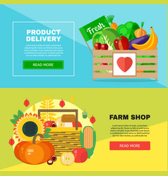 farm shop delivery banners set vector image vector image
