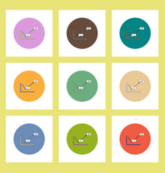 Flat icons set of concept on colorful circles vector