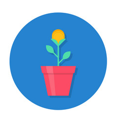 Gold coin flower pot icon vector