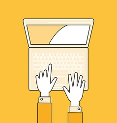 Hands with laptop flat lineal style vector