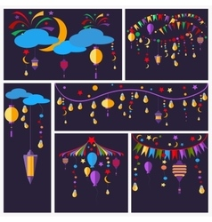 Holiday greeting cards flashlight ball star vector