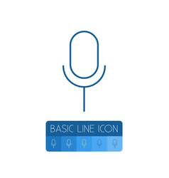 Isolated microphone outline mike element vector