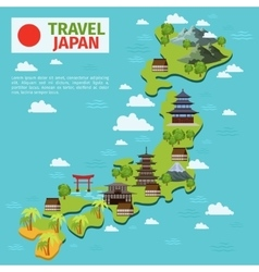 Japan travel map with traditional japanese vector
