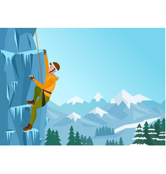 Rock climbing man male on the ice rock winter vector