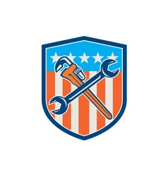 Spanner monkey wrench crossed usa flag shield vector