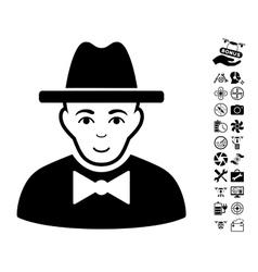 Spy icon with copter tools bonus vector