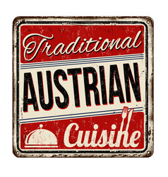 traditional austrian cuisine vintage rusty metal vector image vector image