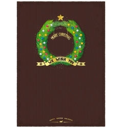 Vintage card template for christmas wishes vector