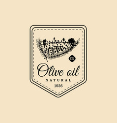 Vintage olive oil logo retro emblem with vector