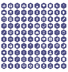 100 diagnostic icons hexagon purple vector