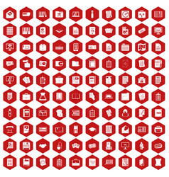 100 document icons hexagon red vector