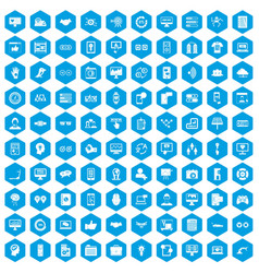 100 interface icons set blue vector