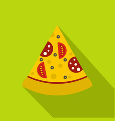 Slice of pizza with sausage and tomatoes icon vector