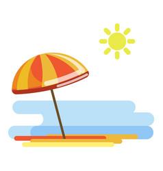 Beach umbrella in sunny day vector