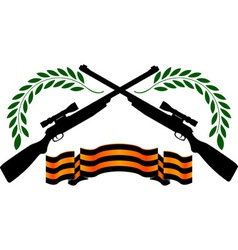 Georgievsy ribbon and sniper rifles vector