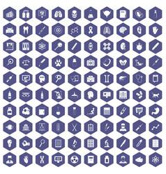100 diagnostic icons hexagon purple vector