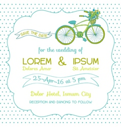Wedding Invitation Card - Vintage Bicycle Theme vector image