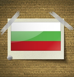 Flags bulgaria at frame on a brick background vector