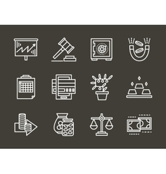 Finance strategy white simple line icons vector