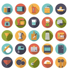 Flat design cooking appliances icons collection vector