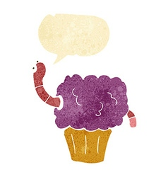 Cartoon worm in cupcake with speech bubble vector