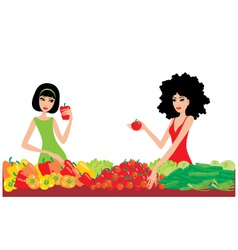 two women buy vegetables vector image