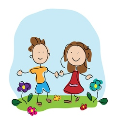 kids holding hands vector image