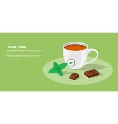 Tea with chocolate vector