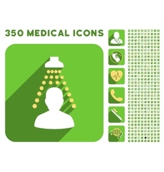Patient disinfection icon and medical longshadow vector