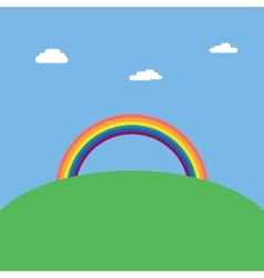 Landscape background with rainbow over green hill vector